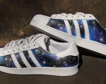 Custom Adidas Superstar GALAXY shoes Blue Purple