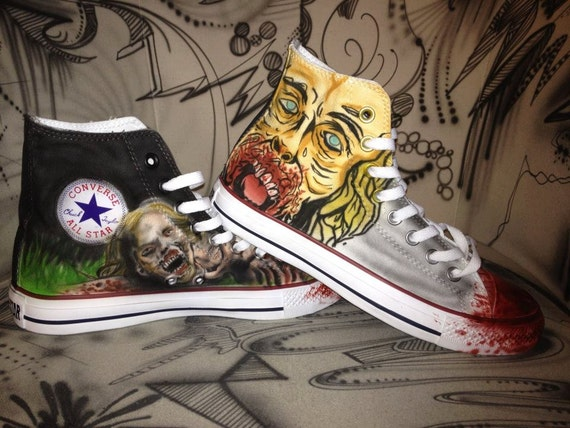 the walking dead airbrush shoes chucks converse allstar. Black Bedroom Furniture Sets. Home Design Ideas