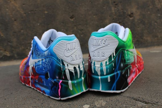 newest 6c9c1 18e8f ... coupon for custom airbrush nike air max 90 white drip galaxy style etsy  bb729 2c10f