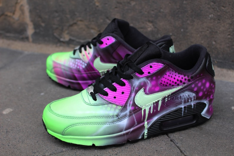 6bf371c6d8 Custom Nike Air Max 90 Pink Abstract Art Style Shoes Sneaker | Etsy