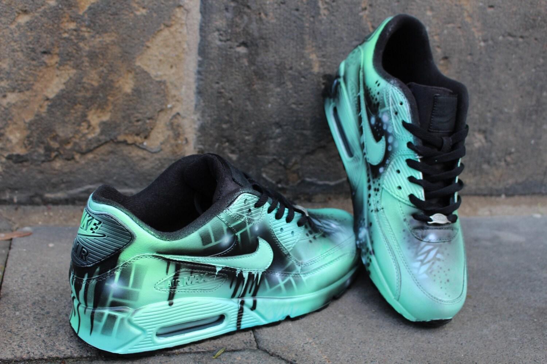 meilleur service 5e64a 51956 Custom Nike Air max 90 mint Black Abstract graffiti Drip Sneaker *UNIKAT*  Rare