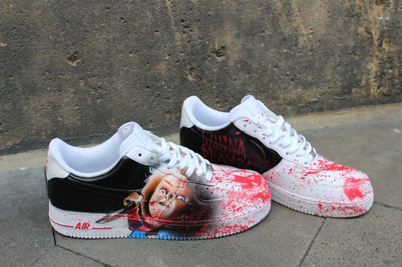 b685546d30 Custom Nike Air Force One CHUCKY handpainted Sneaker Horror | Etsy