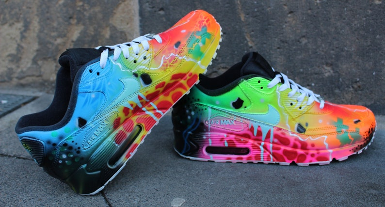 Nike Air Max 90 Blue Galaxy Style Painted Custom Shoes Sneaker Airbrush Kicks rare schuhe *UNIKAT* handpainted shoes dripping swoosh