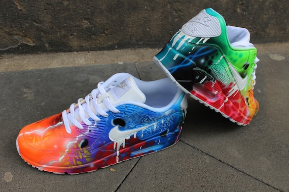 Custom Airbrush Nike Air Max 90 White Drip Galaxy Style