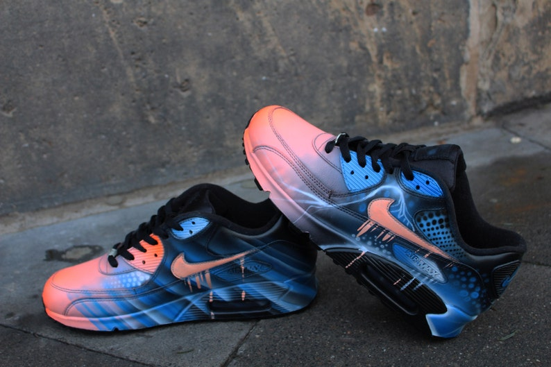 Nike Air Max 90 Blue Abstract Style Painted Custom Shoes Sneaker Airbrush Kicks rare schuhe *UNIKAT*