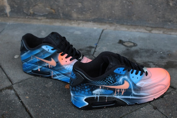 low priced 9002f 5d88e canada nike air max 90 blue abstract style painted custom shoes sneaker  airbrush kicks rare schuhe