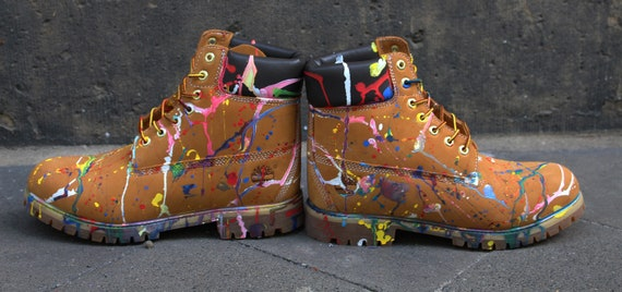Custom painted Timberland Boots Colour Splash Art Style Funky *UNIKAT*