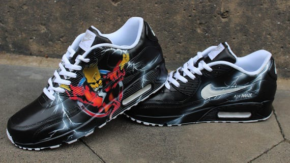 sports shoes 06389 72265 Custom Painted Nike Air max 90 Thunderdome Techno Sneaker Art   Etsy