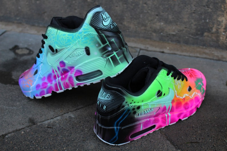 hot sale online f5320 276ae Custom Nike Air Max 90 Funky Galaxy Colours Graffiti Airbrush   Etsy