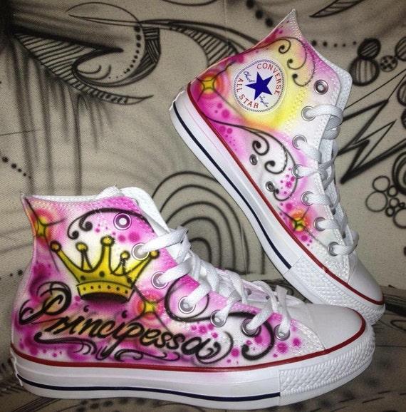 169b6d9a2457 Customized airbrush Converse Allstar Chucks Principessa