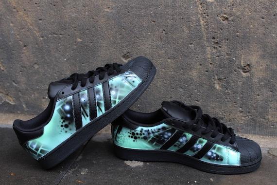 Custom Adidas Superstar GALAXY shoes Blue Purple | Adidas