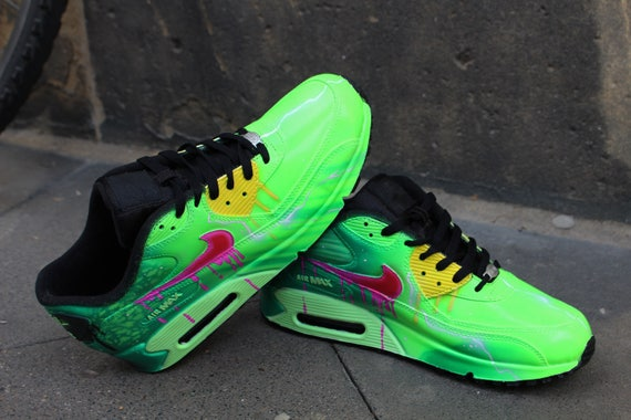 Custom Airbrush Painted Nike Air Max 90 Poison Green Style *UNIKAT* handpainted Sneaker