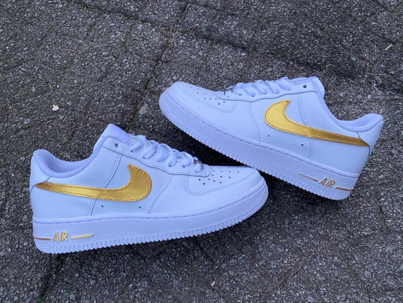 Custom Nike Air Force 1 Golden Swoosh unique and handpainted   Etsy