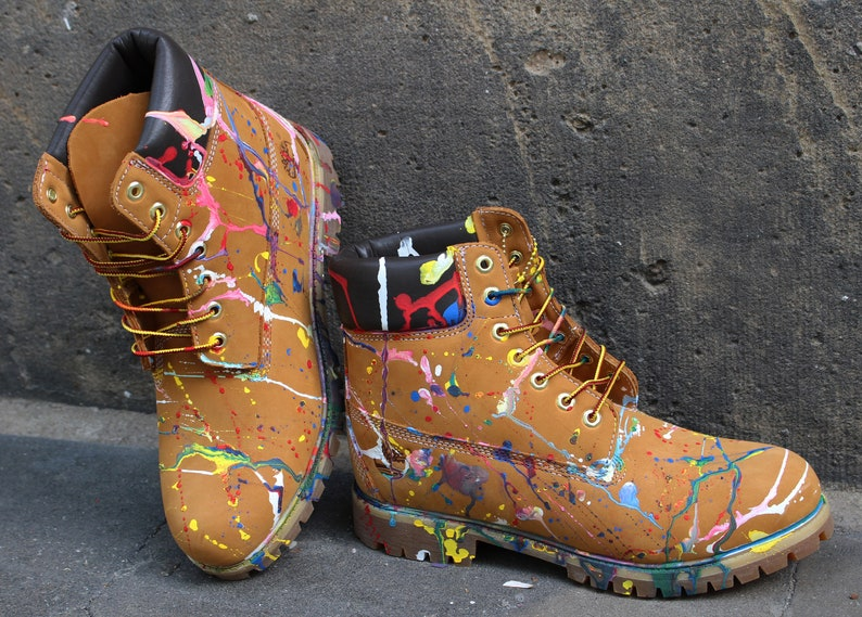 best sneakers cb24d 2e826 Custom painted Timberland Boots Colour Splash Art Style Funky *UNIKAT*