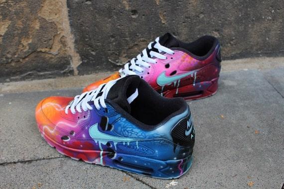 Nike Air Max 90 Blue Galaxy Style Painted Custom Shoes Sneaker Airbrush Kicks rare schuhe *UNIKAT* handpainted shoes dripping swoosh