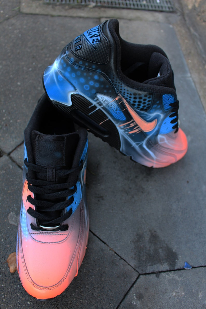 buy online 9335a edbfd Nike Air Max 90 bleu abstrait Style peint personnalisé   Etsy