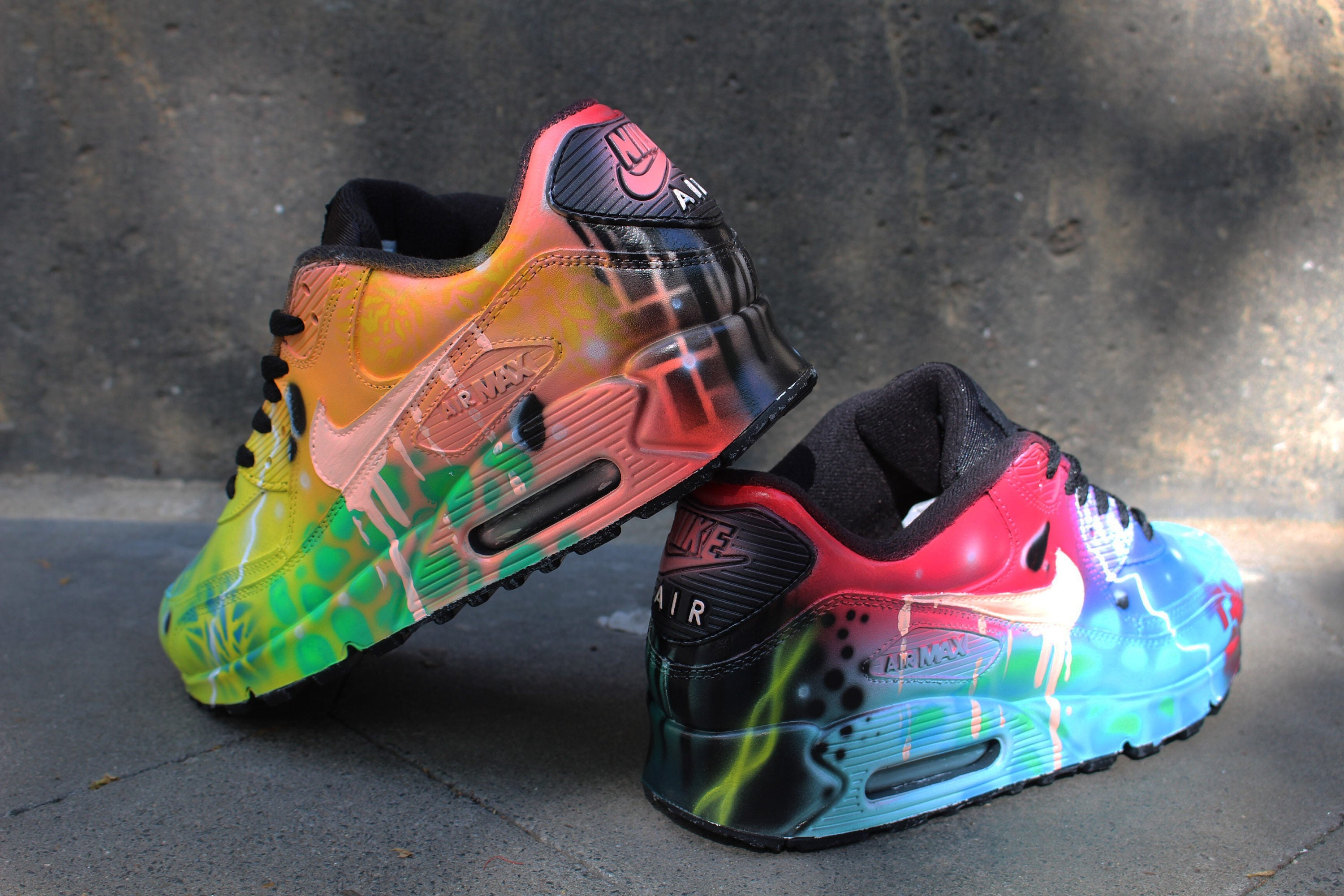 official photos 6f998 aa49d Custom Airbrush Painted Nike Air Max 90 Crazy Funky Colours   Etsy