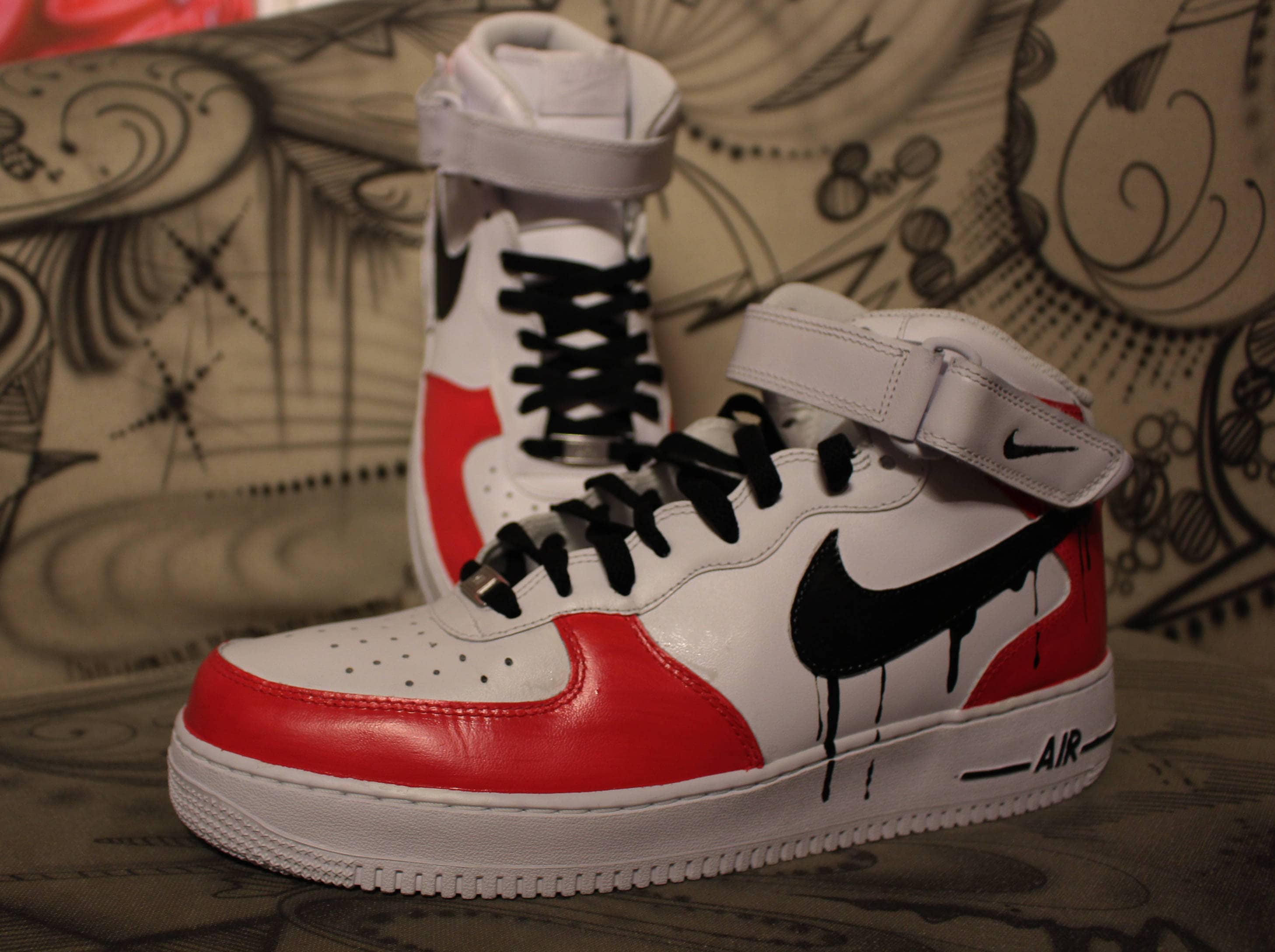 1 Custom Etsy Noir Rouge Blanc Goutte Air Force À Nike qZBUt