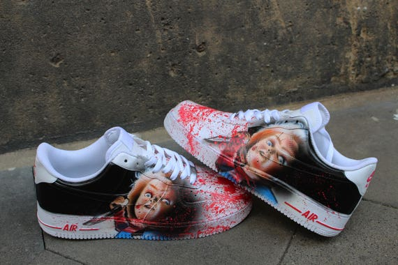 Custom Nike Air Force One CHUCKY handpainted Sneaker Horror Shoes