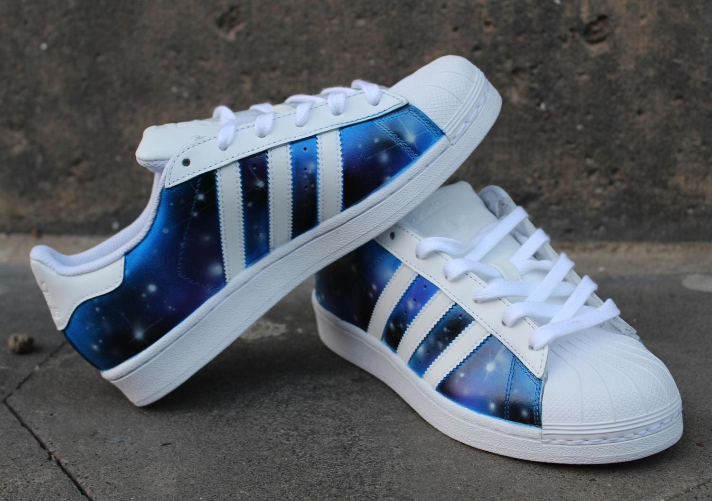 Custom Adidas Superstar GALAXY shoes Blue Purple  ba073e3a9