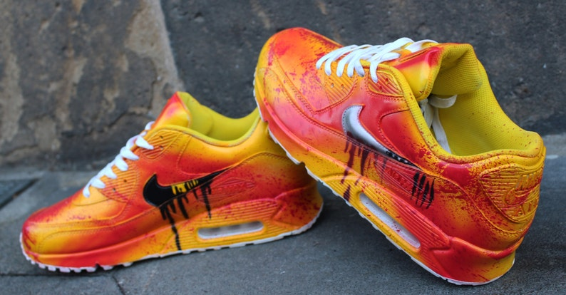 new product 4fce8 c8743 Painted Custom Nike Air Max 90 Kill Bill Graffiti Yellow Blood   Etsy