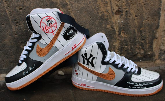 Custom Painted Nike Air Force 1 High Ny Yankees Etsy