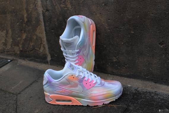 Aangepaste geschilderde Nike Air Max 90 bewolkt Pastell droom Art stijl sneaker * UNIKAT *