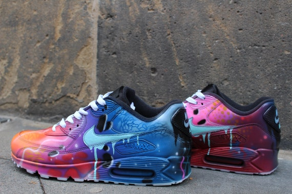 6e9c356c7c1f ... sale nike air max 90 blue galaxy style painted custom shoes sneaker  etsy 51f6a 530bc