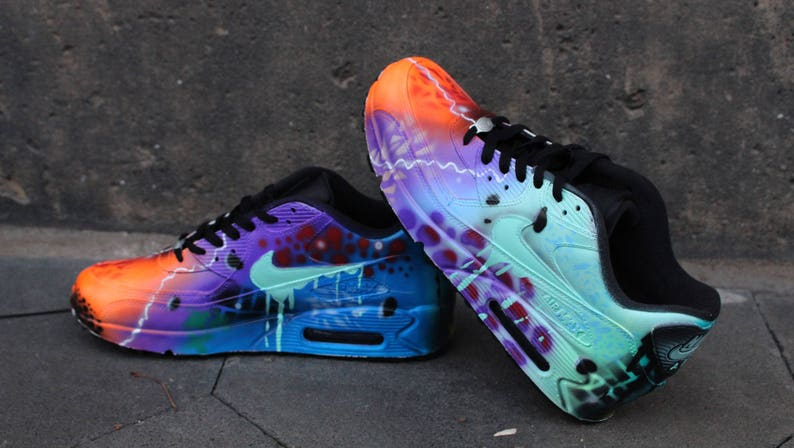 premium selection d1722 70922 Custom painted airbrush Nike Air Max 90 Leather Galaxy   Etsy
