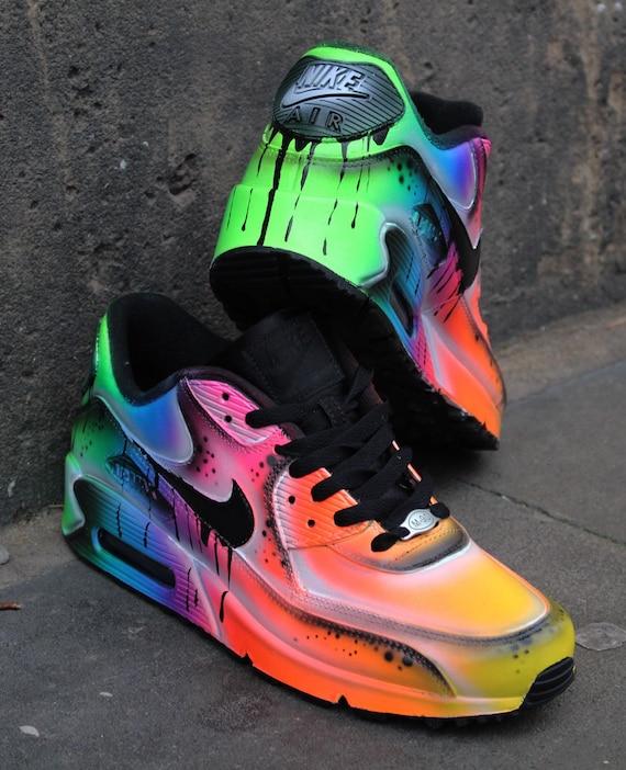 Custom Nike Air Max 90 Fluo Flash Airbrush Sneaker   Etsy