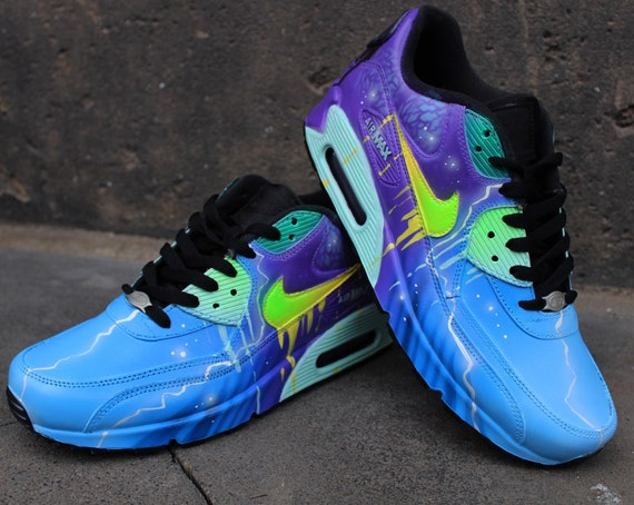 Aérographe personnalisé Nike Air Max 90 baskets bleu galaxie violet Style « UNIKAT » chaussures