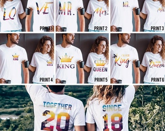 Together Since Shirts, Couple Shirts, Couples shirts, Together Since Couple Shirts, Personalized Couple Shirts, UNISEX, Price per item