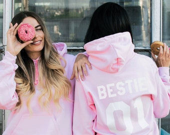 XtraFly Apparel Womens BFF Crazy Pink Valentines Matching Couples Hooded-Sweatshirt Pullover Hoodie