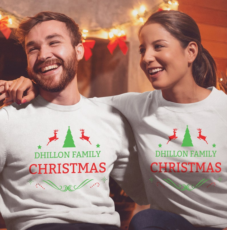 Ugly Christmas Family Pictures.Custom Name Christmas Family Sweatshirt Ugly Christmas Sweater Family Matching Sweaters Unisex Price Per Item