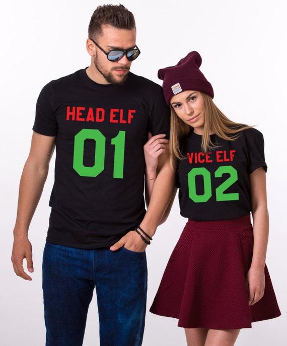 image 0 - Head Elf Vice Elf Matching Shirts Matching Couples Christmas Etsy