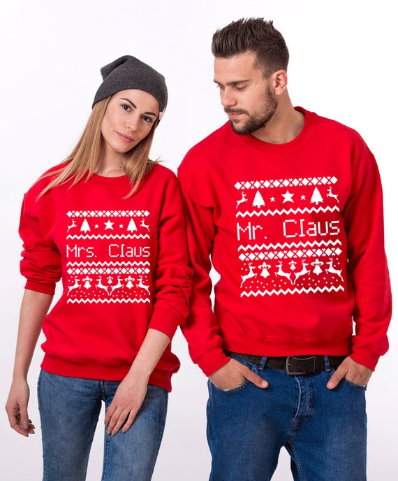 Couples Christmas Sweaters.Ugly Christmas Sweaters For Couples Ugly Christmas Christmas Sweater Christmas Ugly Sweater Mr Mrs Claus Couples Sweater Price Per Item