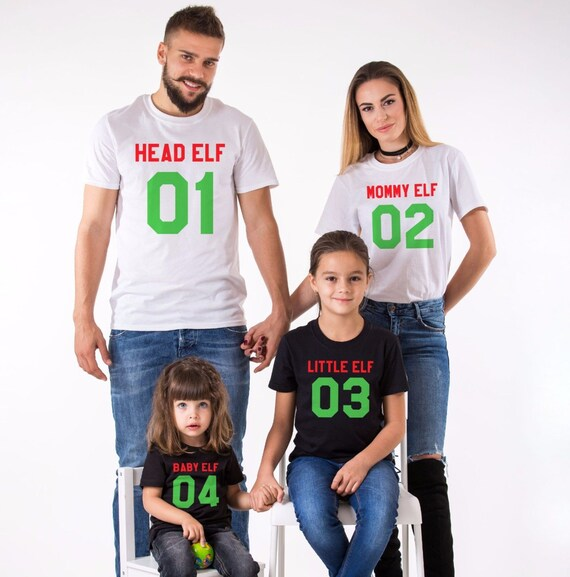 image 0 - Head Elf Mommy Elf Little Elf Family Shirts, Matching Family Christmas  Shirts, Matching Christmas Outfits, 100% Cotton Tee, UNISEX