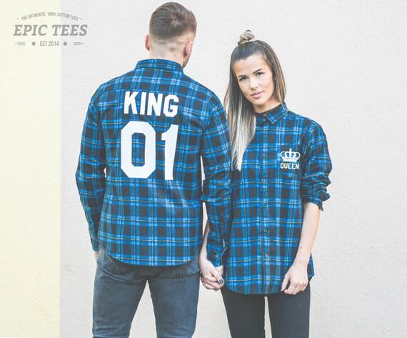 Chemise flanelle bleue roi Reine Matching Plaid chemises f422f061e75e
