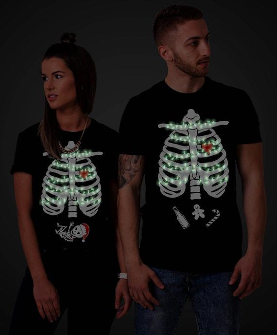 Maternity Shirt Shirts the in Matching Pregnancy Christmas Christmas Maternity Shirt GLOW Dark Christmas Shirts UNISEX Skeleton Shirt nvYAwFXq1x