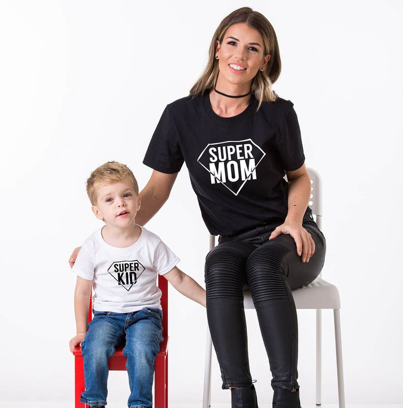 f6c5daad2f942 Matching mommy and son shirts Super Mom Super Kid Mommy Son
