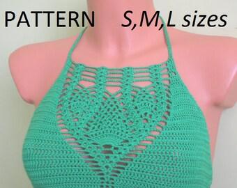 Crochet Halter Top Pattern,  Bikinis PDF, Instand Download, Crop top, Tops, Boho, Pineapple Crochet, Blouses, Easy Pattern