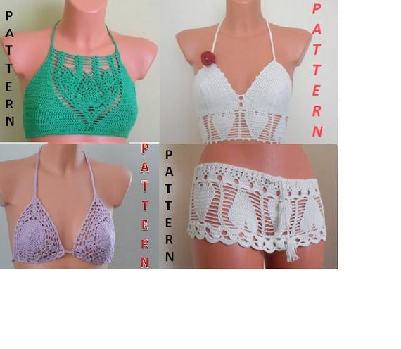 Crochet Haltertop Pattern Crochet Bikini Top Pattern Etsy