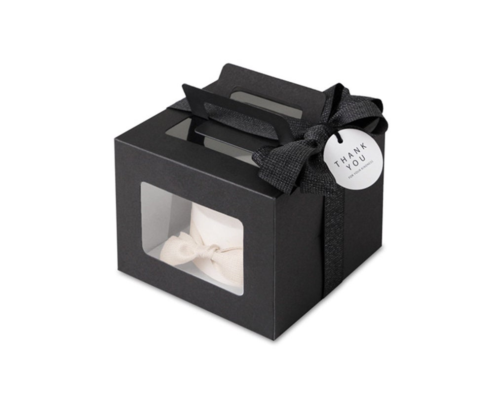 Black Boxes Medium Plain Gable Boxes With Clear Lids Etsy