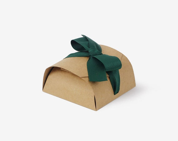 Kraft Boxes / Small / Plain / Box with Lid / With Green Ribbon
