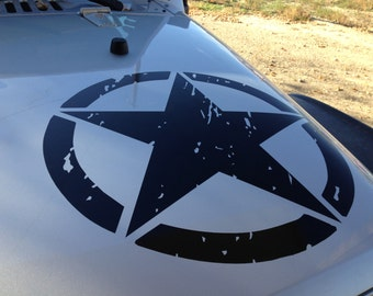 Jeep Wrangler Hood Decal Oscar Mike Distressed Army Star
