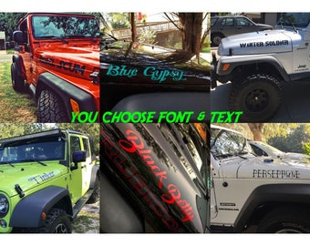 Custom Text Jeep Wrangler Hood Decals (set of two) choose font & text