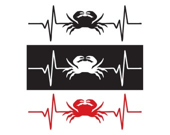 Crab / Seafood / Fish Heartbeat Decal / Sticker - IDS-092