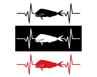Dolphin / Dorado / Mahi Mahi Fish Heartbeat Decal / Sticker - IDS-058