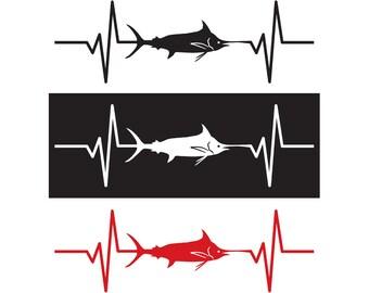 Blue Marlin Fish Heartbeat Decal / Sticker - IDS-053