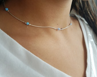 Opal Choker \u2022 White Lab Opal \u2022 Blue Opal Gold or Silver \u2022 October Birthstone \u2022 Gift for Girlfriend \u2022 Dainty Gold Necklace